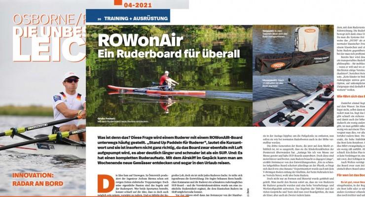 """ROWonAIR® überzeugt im Verbandsmagazin """"rudersport"""" des Deutschen Ruderverbands"""